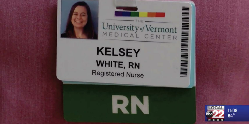 Hospital name tag for nurse Kelsey White, as seen on TV.