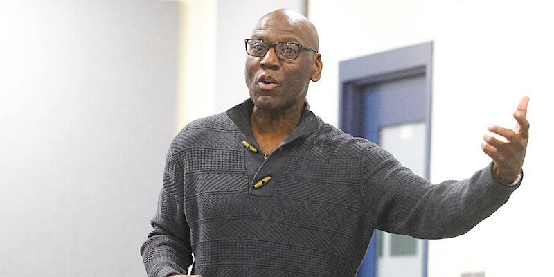 Dr. Leon Walls teaching Race and Racism class at UVM