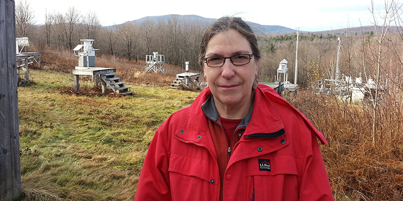 Mim Pendleton at air quality site in Underhill Center, VT
