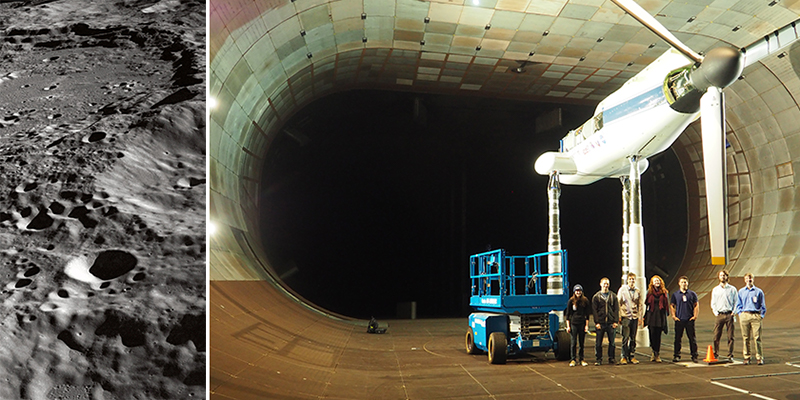 A collage with a closeup of the moon, and students stand in a wind tunnel