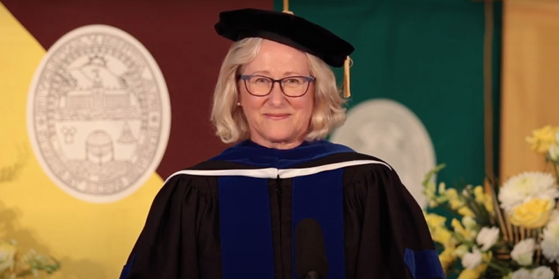 Nancy Mathews in Commencement regalia