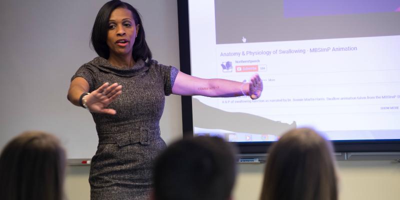 Professor Nancy Gauvin teaching students