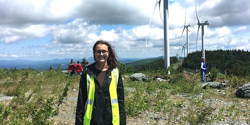 Intern at wind turbine site