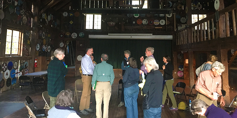 Participants at conference in re-modeled barn