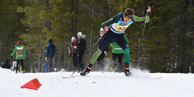 Nordic skier Ben Ogden out in front in a race.