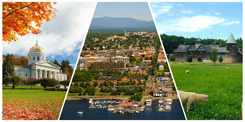 Collage showing Vermont Statehouse, Lake Champlain, Burlington, Mount Mansfield, and Shelburne Farms