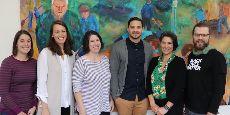 Members of UVM's restorative practices research team, from left to right: Mika Moore, Bernice Garnett, Colby Kervick, Quin Gonell, Tracy Ballysingh, and Lance Smith.
