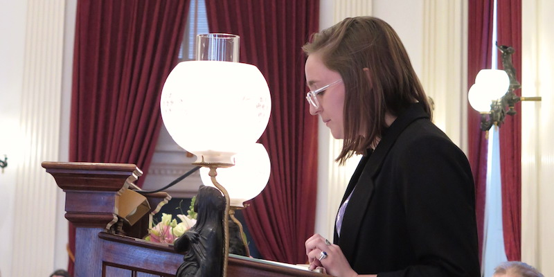 Caitlin Mello speaking at the Vermont State House on Social Work Advocacy Day.