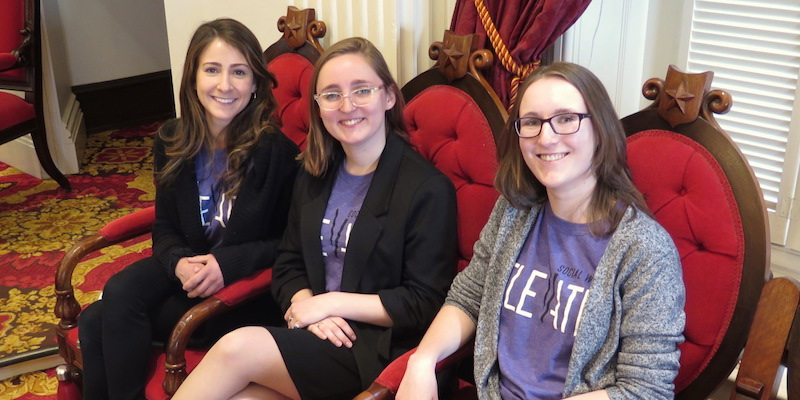 NASW-VT interns Jessica Bernstein, Caitlin Mello, and Haley Newman at the Vermont State House in Montpelier.