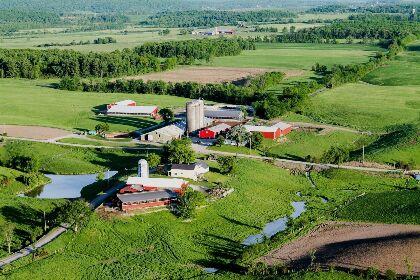 An ariel shot of the 450 acre Sunderland farm