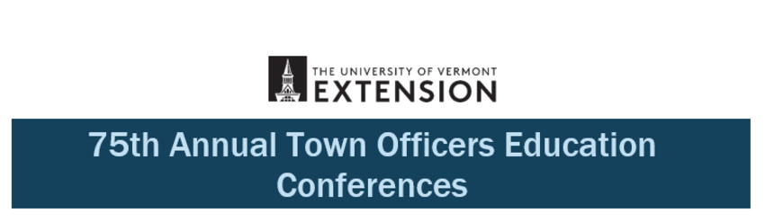 75th Annual Town Officers Education Conference banner in blue