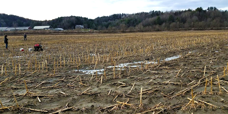 Muddy farm field with snow patches