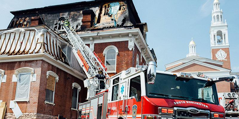 Firetruck in front of Torrey Hall, University of Vermont