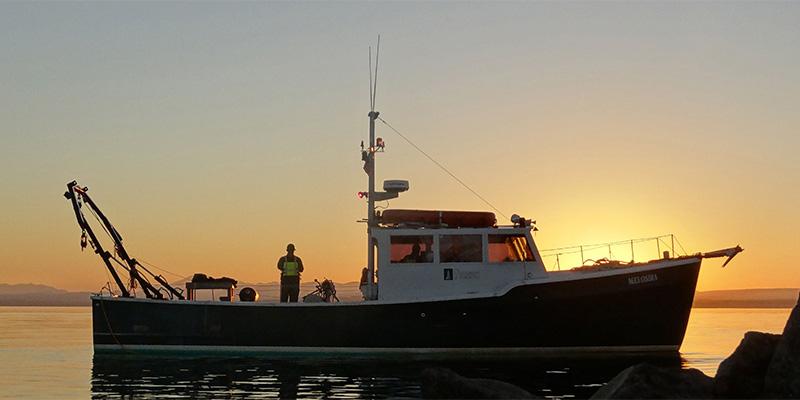 Research vessel Melosira on Lake Champlain at sunset