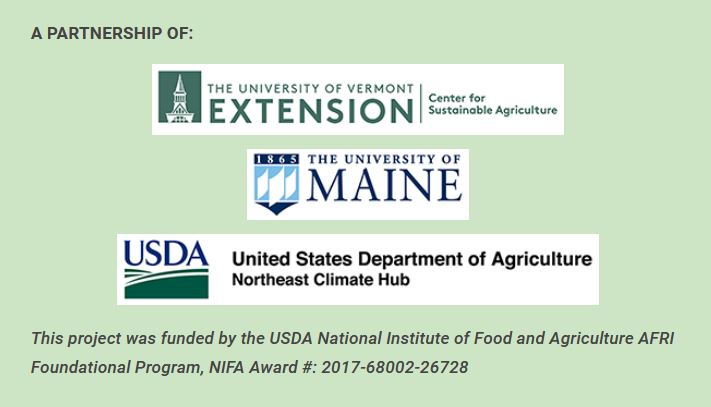 Image description: Logos from Center for Sustainable Ag., University of Maine & USDA Northeast Climate Hub
