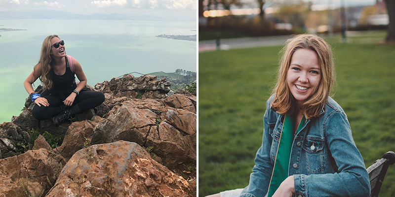 left, Avery Rasmussen on mountaintop; right; sitting on bench outside
