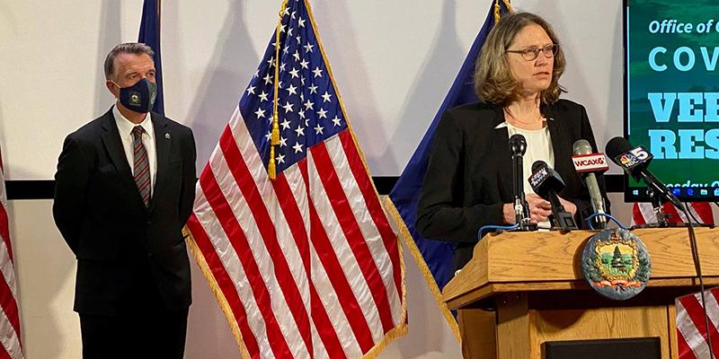 Gov. Phil Scott and Beth Kirkpatrick speak at press conference
