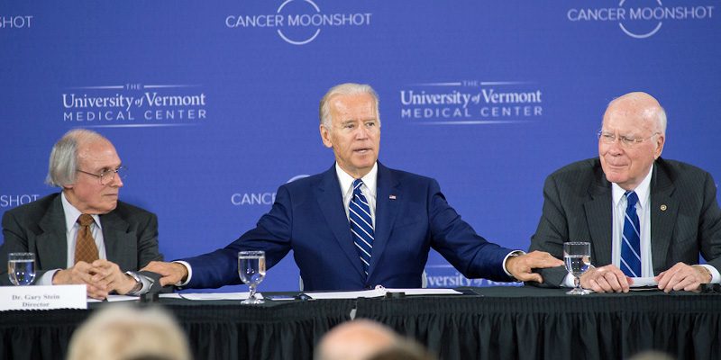Vice President Joe Biden speaks about the Cancer Moonshot event at UVM. Also pictured: Sen. Leahy and Gary Stein, director of the UVM Cancer Center