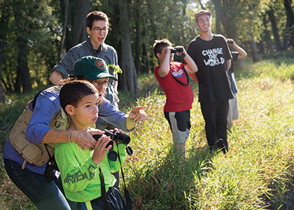 Professor Trish O'Kane's Birding to Change the World class out in the field