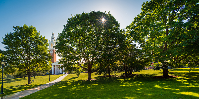 Ira Allen chapel and UVM Green in summer