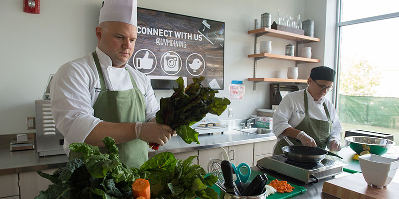 Chefs at work in Central Campus Dining Hall