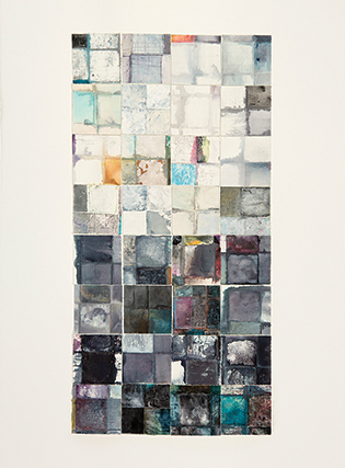 A monoprint of squares of hand painted color