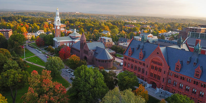 aerial view of the University of Vermont's historic campus.