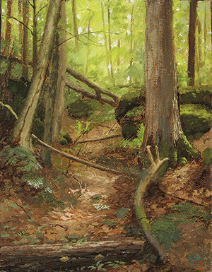 Oil painting of a path in the woods.