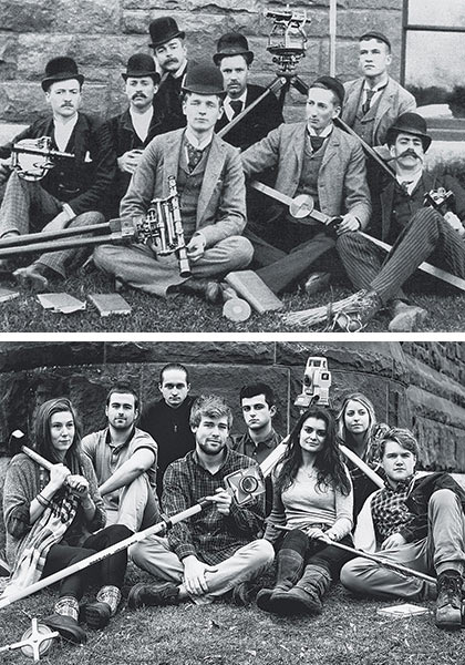 Historic photo of engineers paired with a newer one of current class of engineers