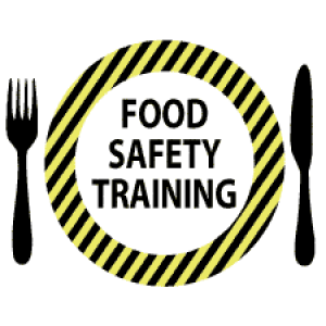 Food Safety Training logo with plate, fork and knife