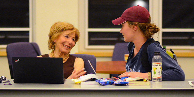 Gail Sheehy '58 with student