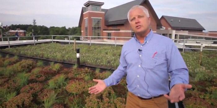 Gary Hawley on Aiken Center green roof
