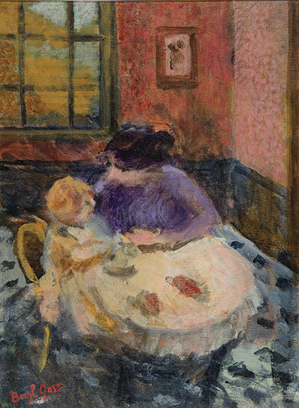 Beryl Goss' painting of a mother and child at a small table