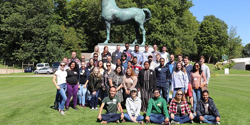 GSS students in front of Horse statue at Fall 2019 GSS Senators' Retreat