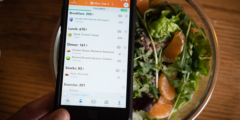 hand holding cell phone with nutrition/diet app open over a plate of salad