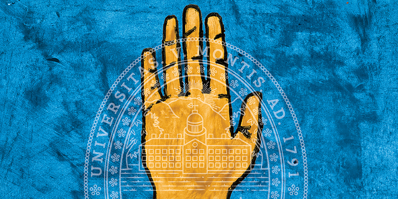 Gold hand, open, on a blue background, with the UVM seal superimposed on top of it.