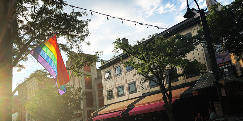 Rainbow pride flag on Church St., Burlington Vermont