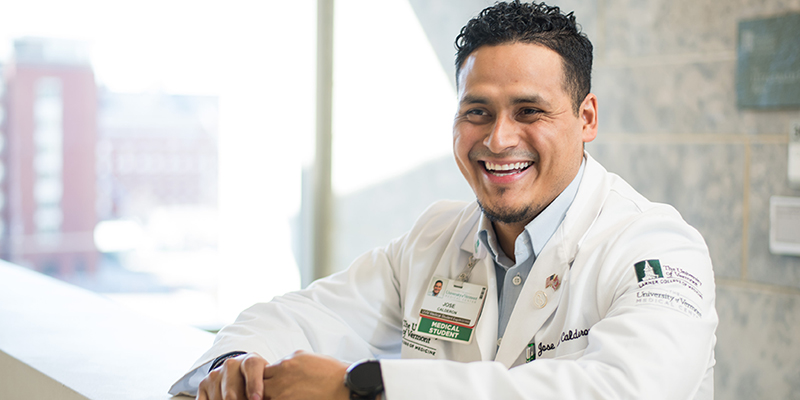 UVM medical student Jose Calderon smiles