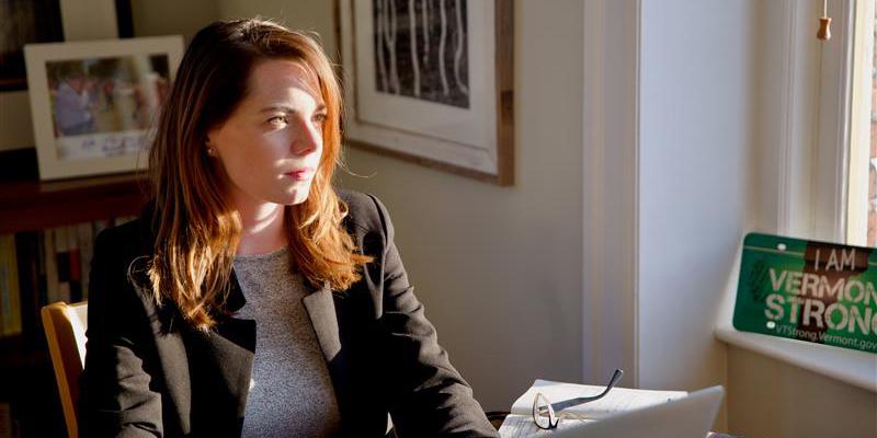 Kate Ash at her desk