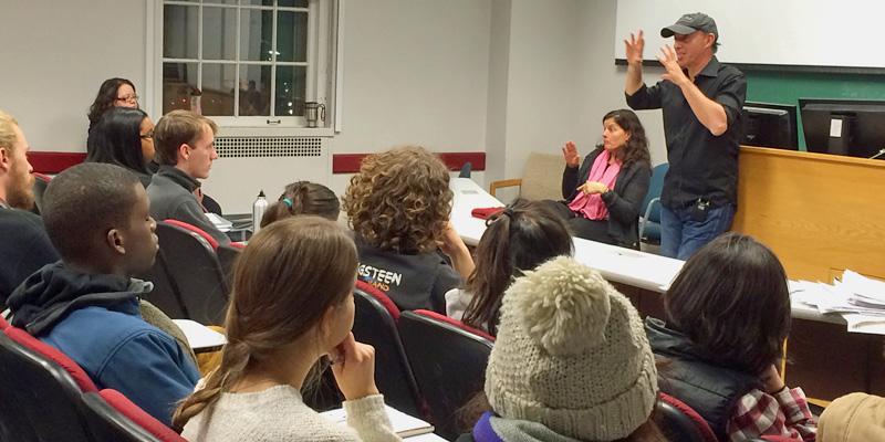 Jon Kilik talking to students