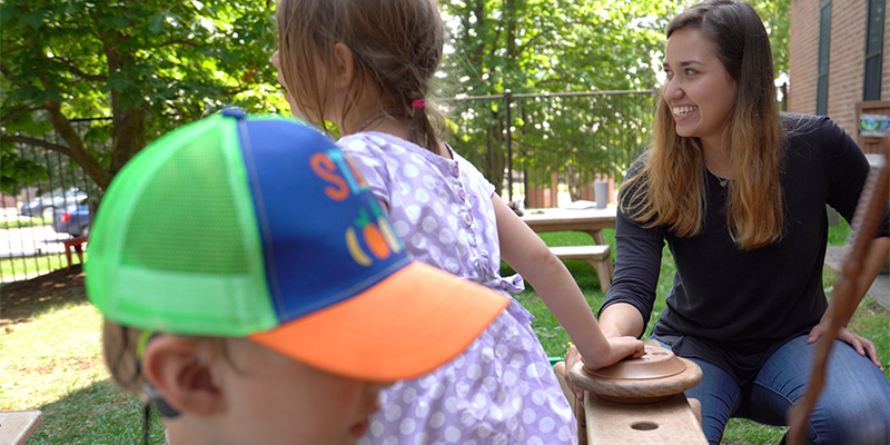 UVM student Kira Hislop at the Campus Children's Center