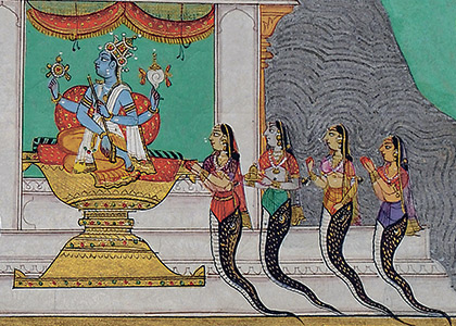 "detail of ""Krishna Quells Kalia to the Acclaim  of the Gods"" painting"