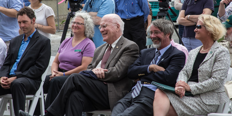 Post-doc researcher Leif Richardson; Deborah Neher, professor of plant and soil science; Sen. Patrick Leahy; Tom Vogelmann, dean of the College of Agriculture and Life Sciences; and Nancy Mathews, dean of the Rubenstein School of Environment and Natural R