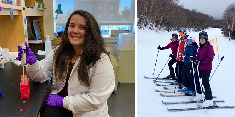 Left: Noelle Gillis in lab; right: skiing with friends
