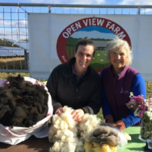 image description: two women with a table with raw wool, outside under blue skies