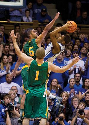 Blocked shot in Duke basketbal game