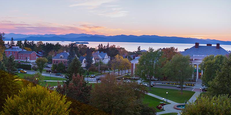 UVM campus and Lake Champlain at sunset