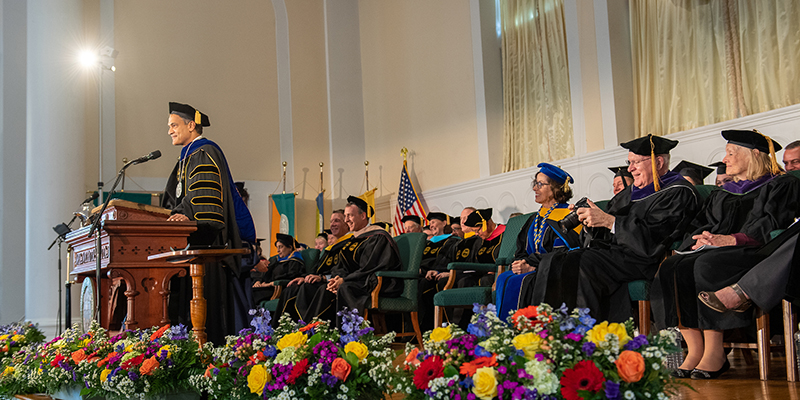 President Suresh Garimella speaks at installation