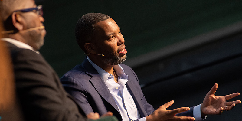 Poet Major Jackson and author Ta-Nehisi Coates talk on stage