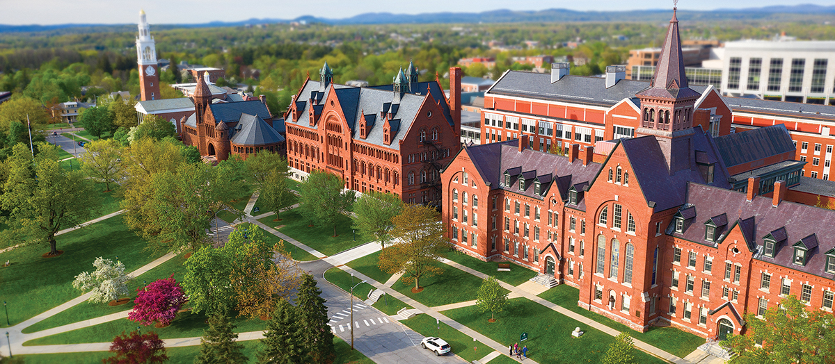 Aerial photo of UVM's historic row in summer
